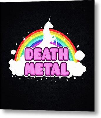Death Metal Funny Unicorn  Rainbow Mosh Parody Design Metal Print by Philipp Rietz