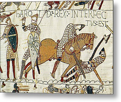 Death Of Harold, Bayeux Tapestry Metal Print by Photo Researchers