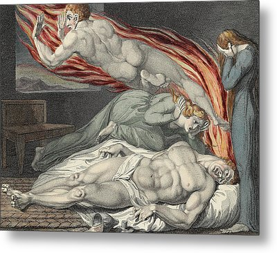 Death Of The Strong Wicked Man Metal Print by Sir William Blake