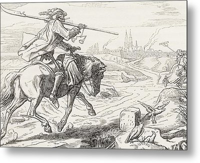 Death On Horseback From Alfred Rethel S Metal Print by Vintage Design Pics