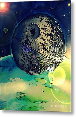 Death Star Illustration  Metal Print
