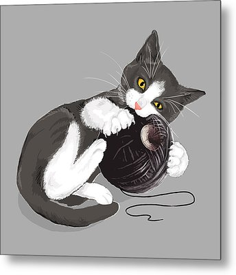 Death Star Kitty Metal Print by Olga Shvartsur