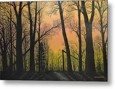 December Dusk - Northern Hardwoods Metal Print