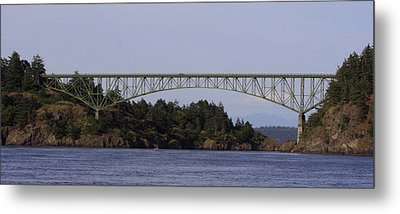 Deception Pass Brige Pano Metal Print by Mary Gaines