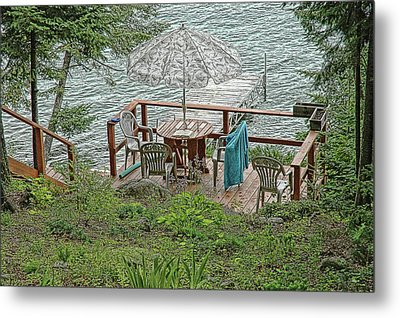 Deck At Blue Sea Lake Metal Print by Ginette Thibault