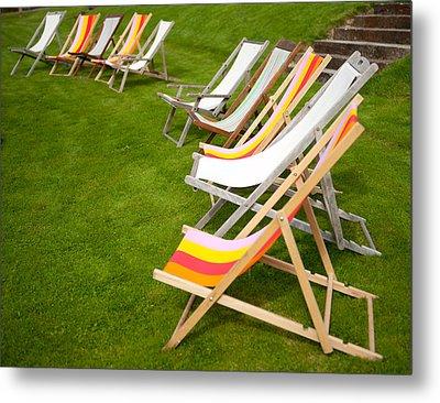 Deck Chairs Metal Print