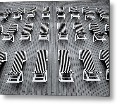 Deck Chairs Metal Print by Michel Le