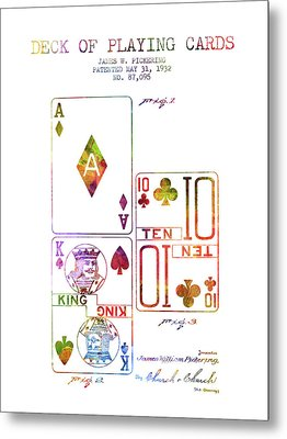 Deck Of Playing Cards Patent From 1932 - Charcoal Metal Print by Aged Pixel