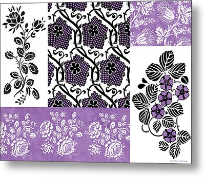 Deco Flower Patchwork 3 Metal Print