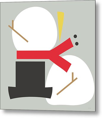 Deconstructed Snowman- Modern Art By Linda Woods Metal Print by Linda Woods