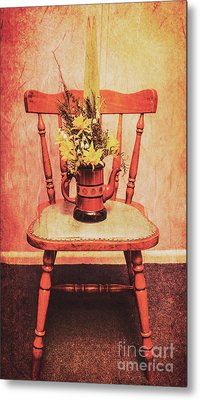 Decorated Flower Bunch On Old Wooden Chair Metal Print by Jorgo Photography - Wall Art Gallery