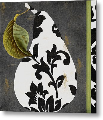 Decorative Damask Pear I Metal Print by Mindy Sommers