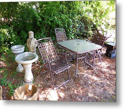 Decorative Furniture In A Garden 1 Metal Print by Lanjee Chee