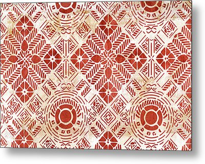 Decorative Vintage Pattern Sanguine Red Metal Print by Frank Tschakert