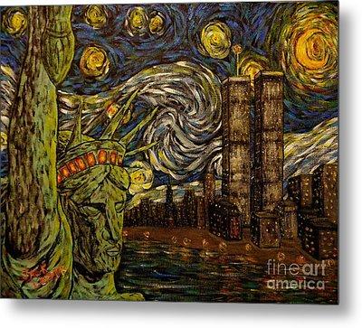 Dedication To Van Gogh Nyc Starry Night Twin Towers The True Towers Metal Print