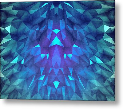Deep Blue Collosal Low Poly Triangle Pattern  Modern Abstract Cubism  Design Metal Print