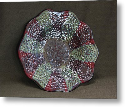 Deep Firebrick And Seaweed And Saturation Gold Textured Bowl Metal Print