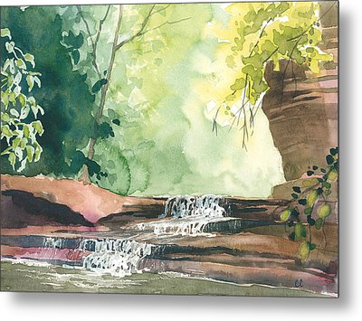 Deep Forest Waterfall Metal Print by Christine Camp