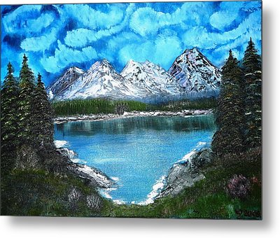Deep Mountain Lake Metal Print