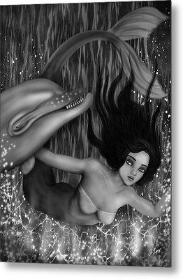 Deep Sea Mermaid - Black And White Fantasy Art Metal Print
