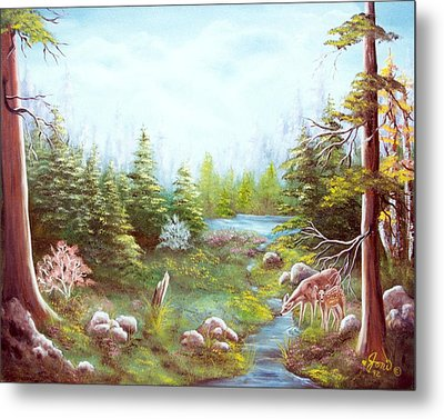Deer And Stream Metal Print