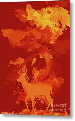 Deer Art Evening Metal Print by Prar Kulasekara