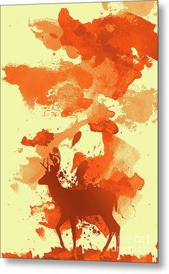 Deer Art Morning Metal Print by Prar Kulasekara