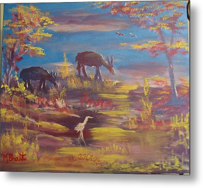 Deer At Dust Metal Print by M Bhatt