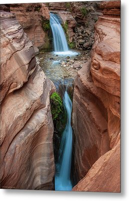 Deer Creek Double Waterfall Metal Print by Britt Runyon