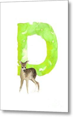 Deer Figurine Watercolor Poster Metal Print
