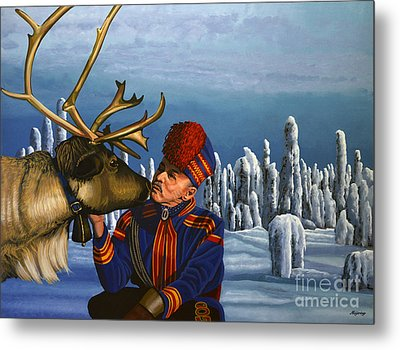 Deer Friends Of Finland Metal Print by Paul Meijering