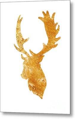 Deer Head Silhouette Drawing Metal Print by Joanna Szmerdt