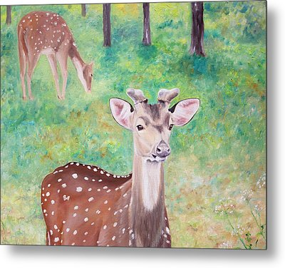 Metal Print featuring the painting Deer In Woods by Elizabeth Lock