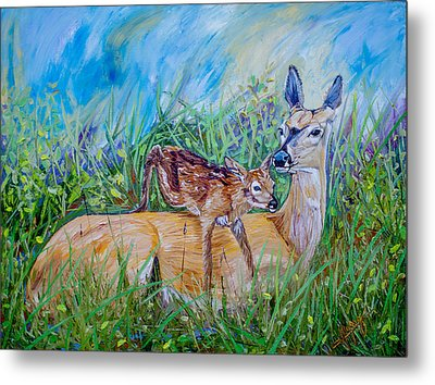 Deer Mom And Babe 24x18x1 Oil On Gallery Canvas Metal Print