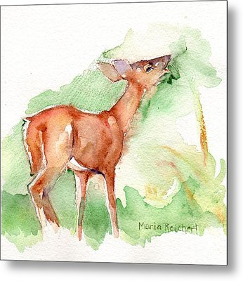 Deer Painting In Watercolor Metal Print by Maria's Watercolor