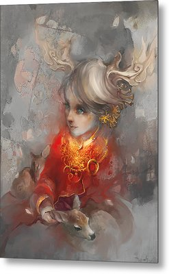Metal Print featuring the digital art Deer Princess by Te Hu