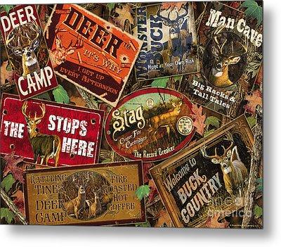 Deer Sign Collage Metal Print by Bruce Miller JQ Licensing