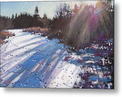 Deer Tracks Snowy River Metal Print by Larry Seiler
