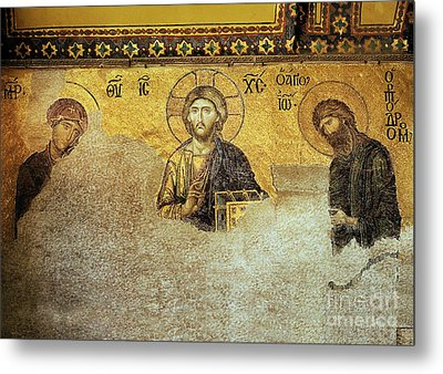 Deesis Mosaic Hagia Sophia-christ Pantocrator-the Last Judgement Metal Print