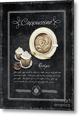 Metal Print featuring the painting Deja Brew Chalkboard Coffee 3 Cappuccino Cupcakes Chocolate Recipe  by Audrey Jeanne Roberts