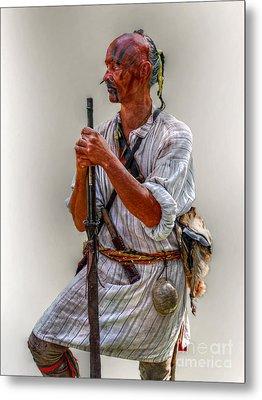 Delaware Indian Warrior Portrait 1763 Metal Print by Randy Steele