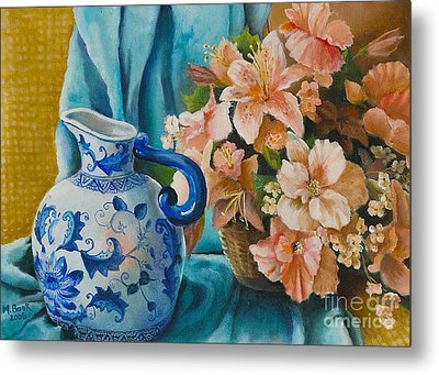 Metal Print featuring the painting Delft Pitcher With Flowers by Marlene Book