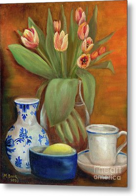 Delft Vase And Mini Tulips Metal Print