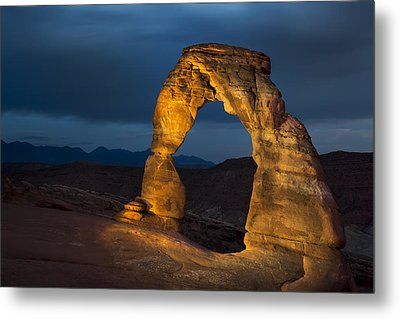 Delicate Arch At Night Metal Print by Adam Romanowicz