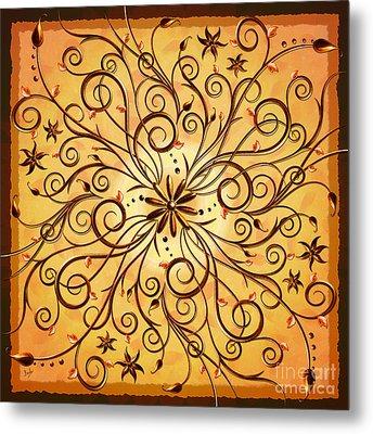 Delicate Floral Scrolls Metal Print by Bedros Awak