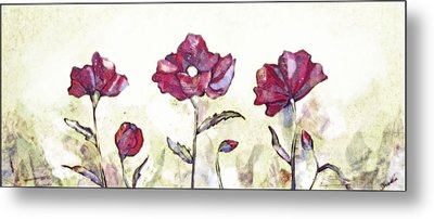 Delicate Poppy I Metal Print by Shadia Derbyshire
