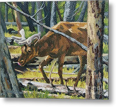 Metal Print featuring the painting Delicious Greens, Yellowstone by Erin Fickert-Rowland
