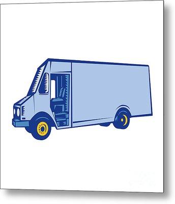 Delivery Van Side Woodcut Metal Print by Aloysius Patrimonio