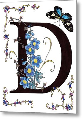 Delphinium And Doris Butterfly Metal Print by Stanza Widen