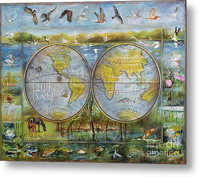 Danube Delta  Map.delta Map Painted On Leather. Original Map.one Of A Kind Map. Metal Print